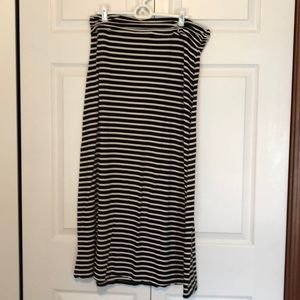 JCrew Black & White Striped Maxi Skirt